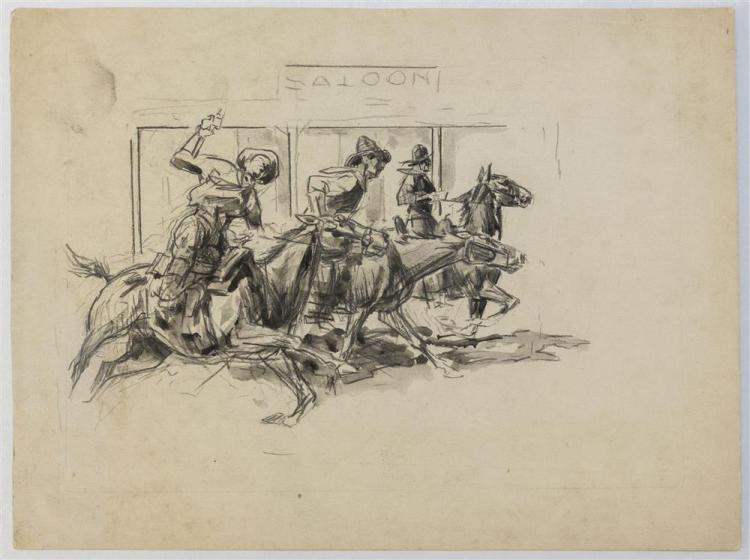 """HENRY """"HARRY"""" BROWN BAKER, (American, 1868-1941), OUTSIDE THE SALOON, pencil and ink wash on paper, 9 x 11 3/4 in."""