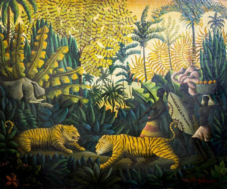 ORVILLE BULMAN, (American, 1904-1978), HEART OF THE JUNGLE, oil on canvas, 30 x 36 in. (41 x 48 in.)