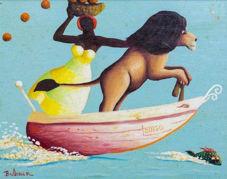 ORVILLE BULMAN, (American, 1904-1978), HOT PROP, 1976, oil on board, 8 x 10 in. (14 x 16 in.)