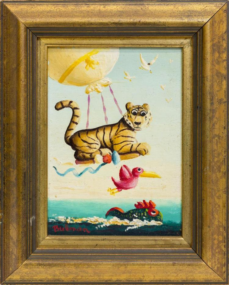 ORVILLE BULMAN, (American, 1904-1978), FLYING TIGER and SEATED LION, oil on board