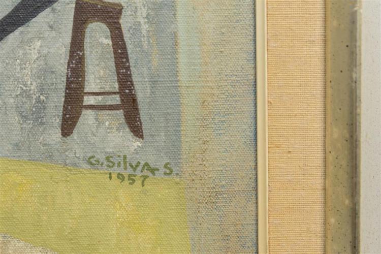 GUILLERMO SILVA SANTAMARIA, (Colombian, 1921-2007), SALON DE BELLEZA, 1957, oil on canvas, 32 x 43 1/2 in. (36 1/2 x 47 1/2 in.)