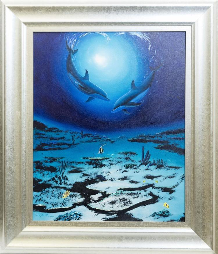 ROBERT WYLAND, (American, b. 1956), DOLPHINS, 2006, oil on canvas, 24 x 30 in. (39 1/2 x 34 in.)