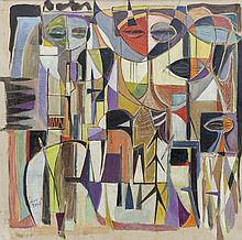 HUMBERTO JAIMES SANCHEZ, (Venezuelan, 1930-2003), COMPOSITION, oil on canvas, 17 1/2 x 17 1/2 in. (20 x 20 in.)