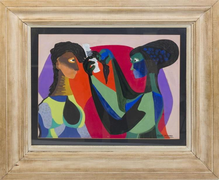 FELIPE ORLANDO, (Cuban, 1911-2001), TWO WOMEN, gouache on board, sight: 15 1/2 x 20 in. (26 x 30 1/4 in.)