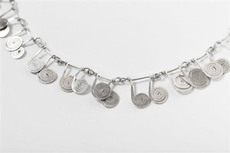 ALEXANDER CALDER, (American, 1898-1976), UNTITLED NECKLACE, silver, scroll length: 5/8 to 3/4 in.; necklace length: 18 in.
