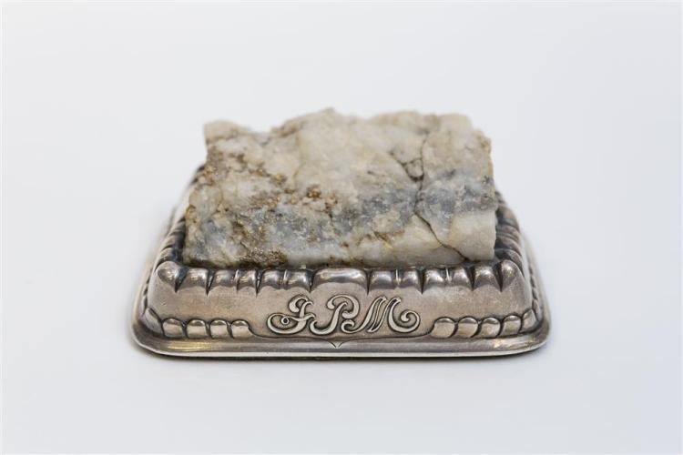 HISTORICALLY SIGNIFICANT AMERICAN SILVER AND GOLD QUARTZ PAPERWEIGHT, Tiffany & Company, maker, for John Pierpont Morgan