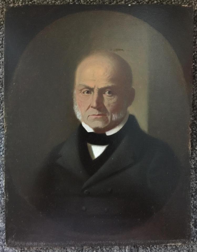 GEORGE CALEB BINGHAM, (American, 1811-1879), JOHN QUINCY ADAMS, May 1844, oil on panel, 10 x 7 3/4 in. (19 1/2 x 17 1/2 in.)