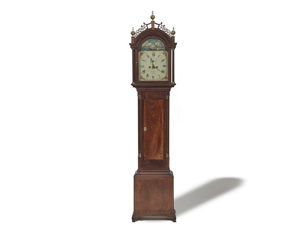 Lot Josiah Gooding Bristol Rhode Island 1777 1867 Federal Brass Mounted Mahogany Rocking Ship Tall Case Clock