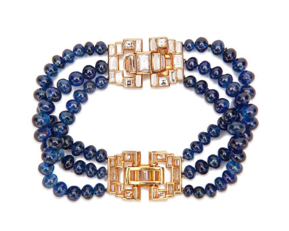 VAN CLEEF & ARPELS 18K Gold, Diamond, and Sapphire Bracelet