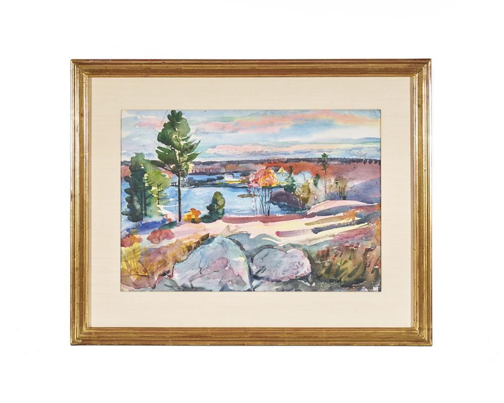 WILLIAM ZORACH, (American, 1887-1966), Robin Hood from the Big Knubble in the Fall, 1960, watercolor, sight: 14 1/2 x 21 in., frame: 23 1/2 x 29 1/2 in.