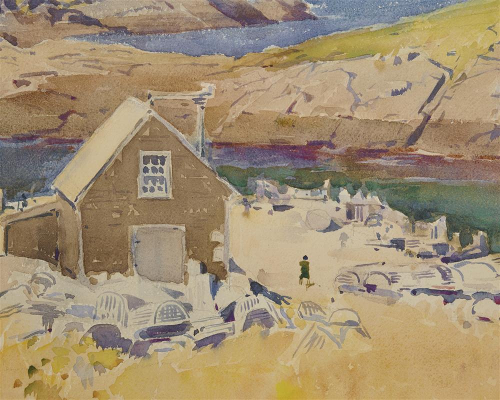 SEARS GALLAGHER, (American, 1869-1955), View of The Main Dock from Upper Fields, Monhegan, Maine, watercolor, sheet: 14 x 21 in., frame: 24 1/2 x 31 in.