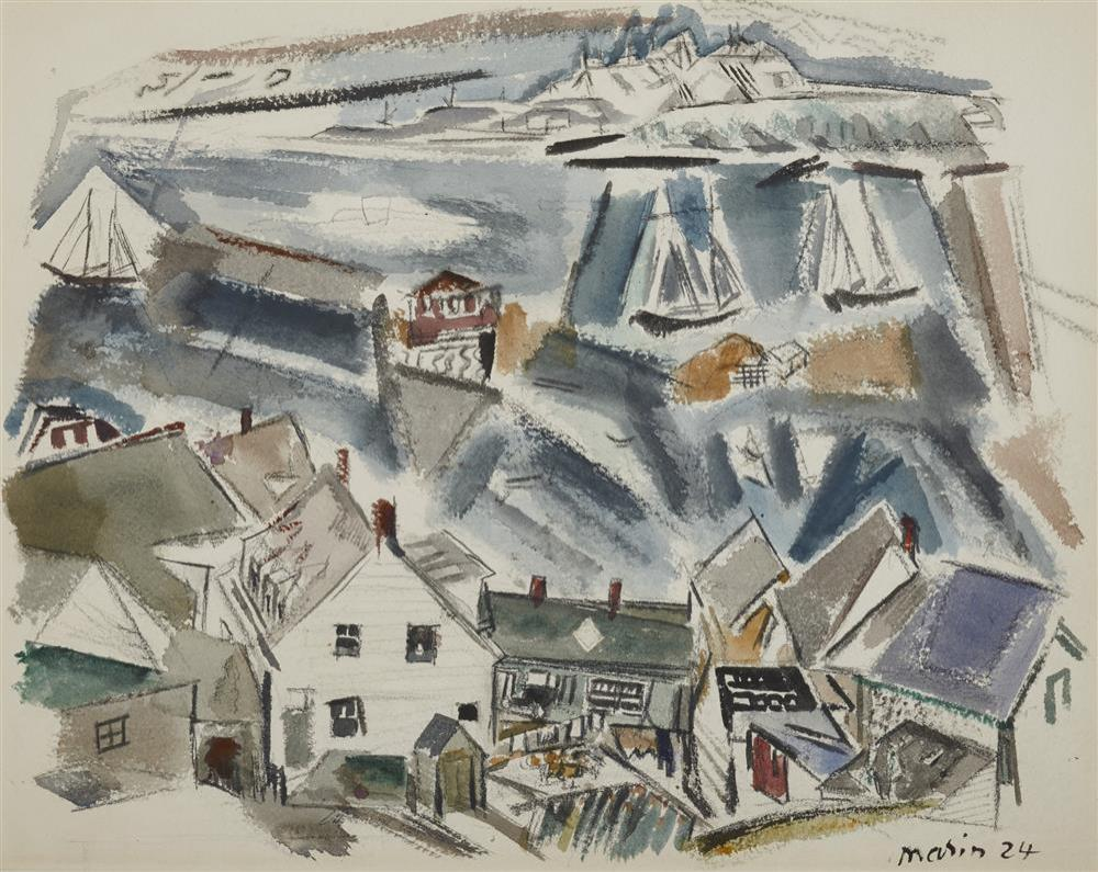 JOHN MARIN, (American, 1870-1953), Stonington Harbor, Deer Isle, Maine, 1924, watercolor, sheet: 17 x 21 in., frame: 24 x 28 in.