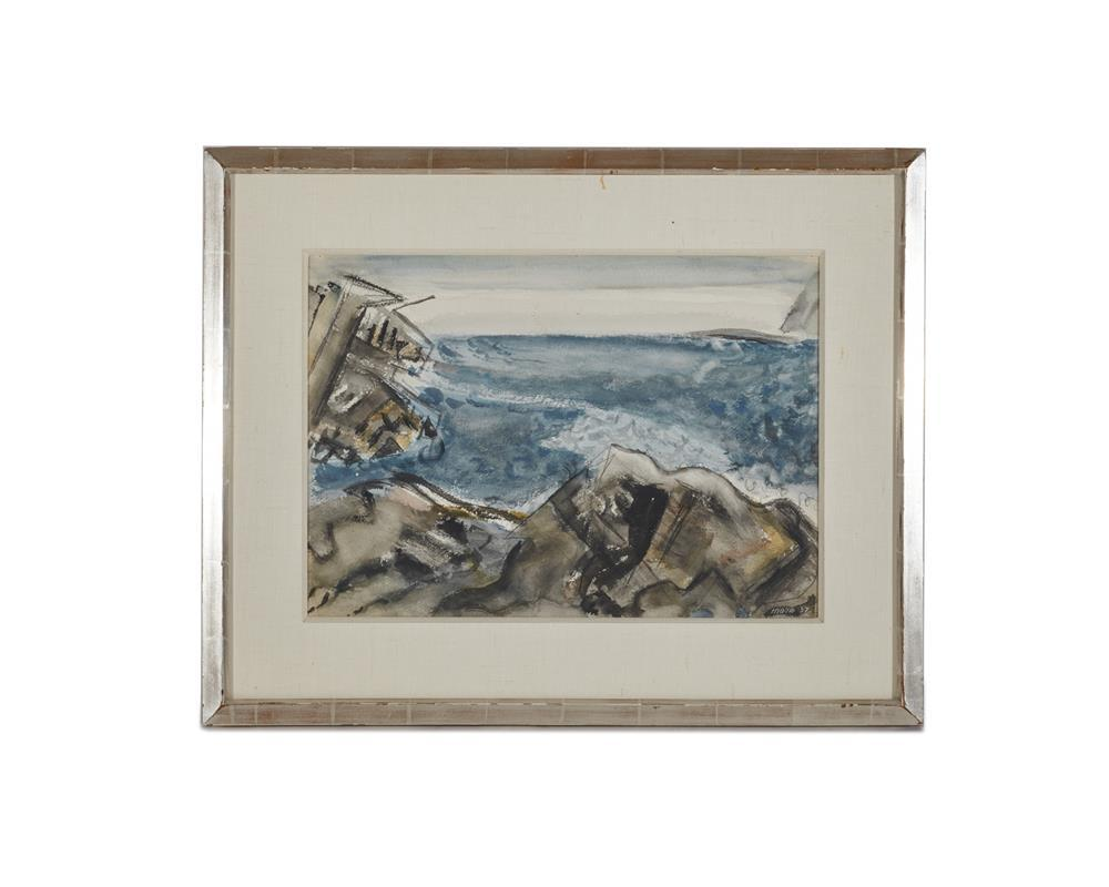 JOHN MARIN, (American, 1870-1953), Sea Movement, Maine, 1937, watercolor, sheet: 15 1/4 x 21 5/8 in., frame: 24 x 30 in.