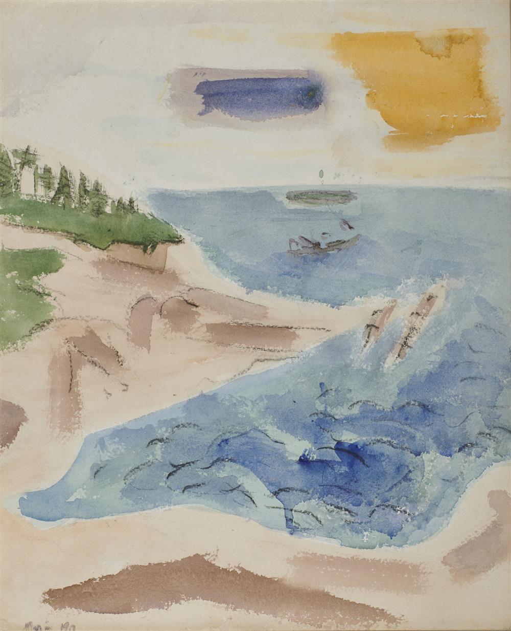 JOHN MARIN, (American, 1870-1953), Sea and Rocks, Small Point, Maine, 1917, watercolor, sheet: 19 1/2 x 16 1/4 in., frame: 24 x 21 in.