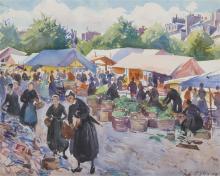 AIDEN LASSELL RIPLEY, (American, 1896-1969), Dutch Market, 1928, watercolor, sight: 15 1/2 x 19 1/2 in., frame: 24 x 28 in.