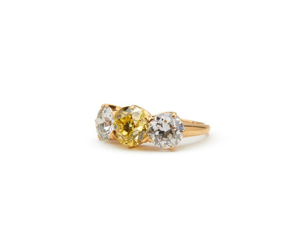 TIFFANY & CO 18K Gold, Colored Diamond, and Diamond Ring