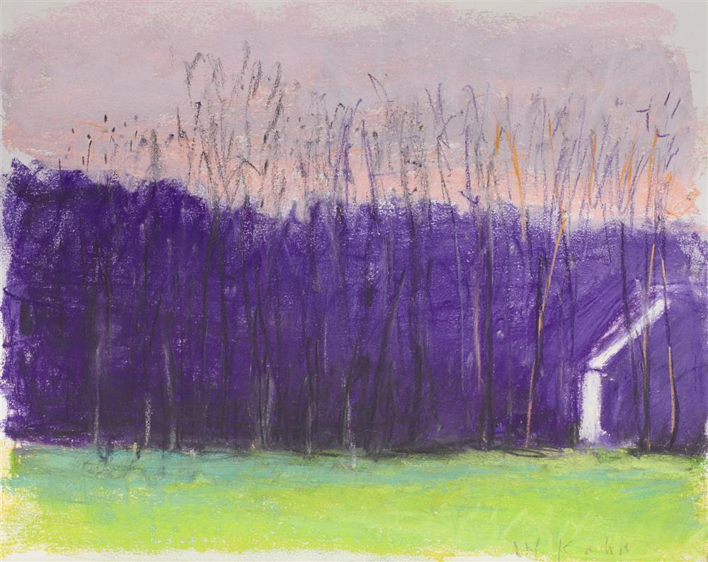 WOLF KAHN, (American, b. 1927), Cabin on the Right, 2005, pastel on paper, 11 x 14 in., frame: 17 1/2 x 20 3/4 in.