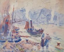 AIDEN LASSELL RIPLEY, (American, 1896-1969), Ladies on a Pier, watercolor, sight: 18 1/4 x 22 in.