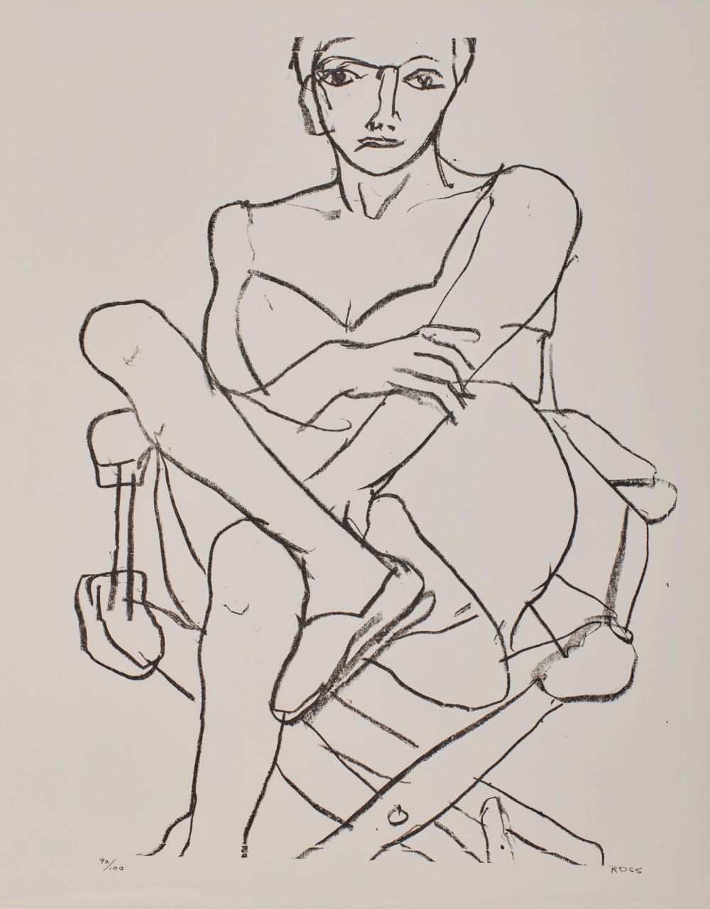 RICHARD DIEBENKORN, (American, 1922-1993), Seated Woman in Chemise, 1965, lithograph, 28 x 22 in., frame: 30 1/2 x 25 in.