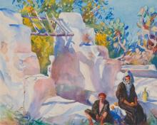 AIDEN LASSELL RIPLEY, (American, 1896-1969), By the Well, 1925, watercolor, sight: 15 1/2 x 19 1/2 in., frame: 26 x 29 in.
