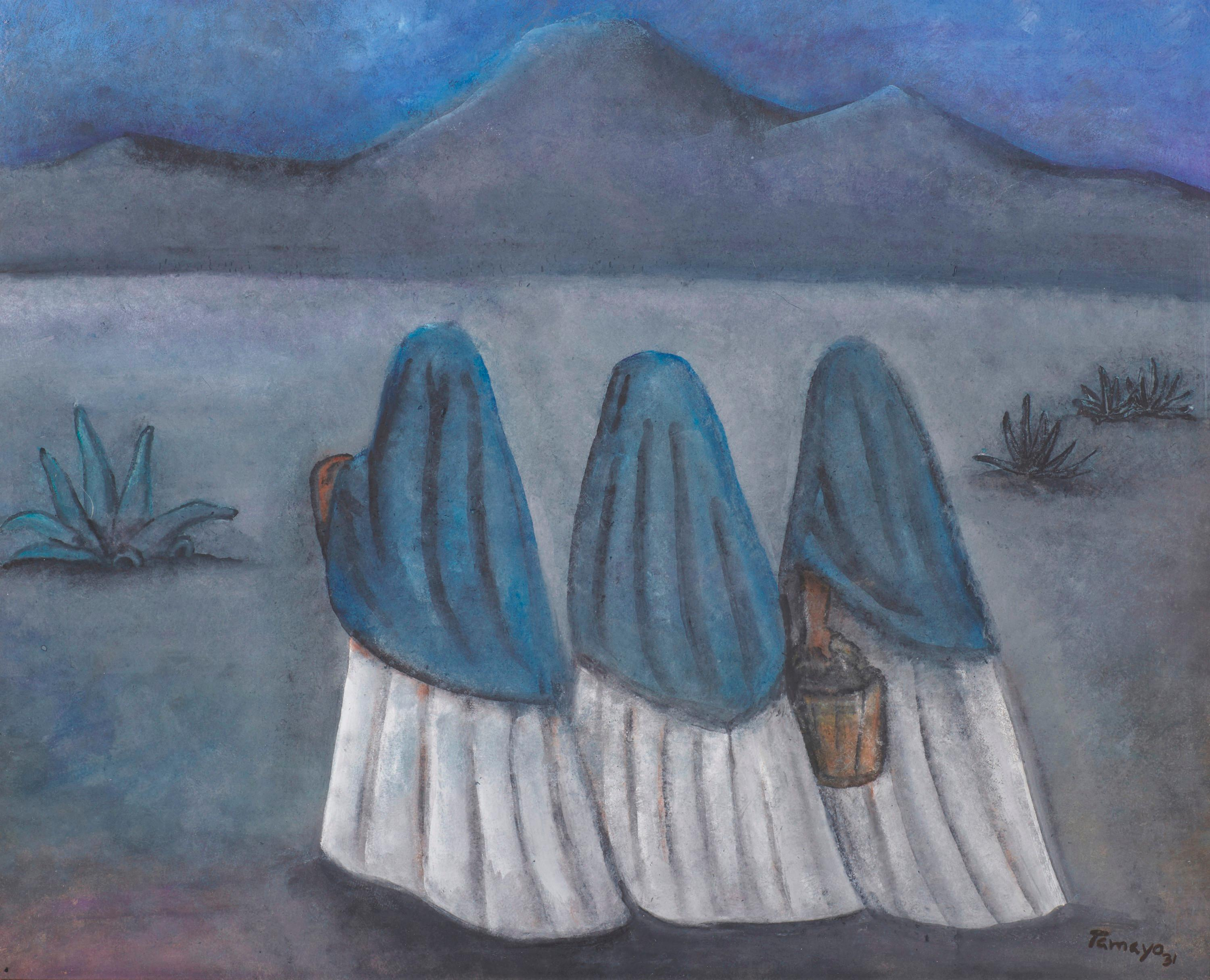RUFINO TAMAYO, (Mexican, 1899-1991), Mujeres al Amanecer, 1931, pastel and gouache, sight: 15 1/2 x 19 1/2 in., frame: 30 x 34 in.