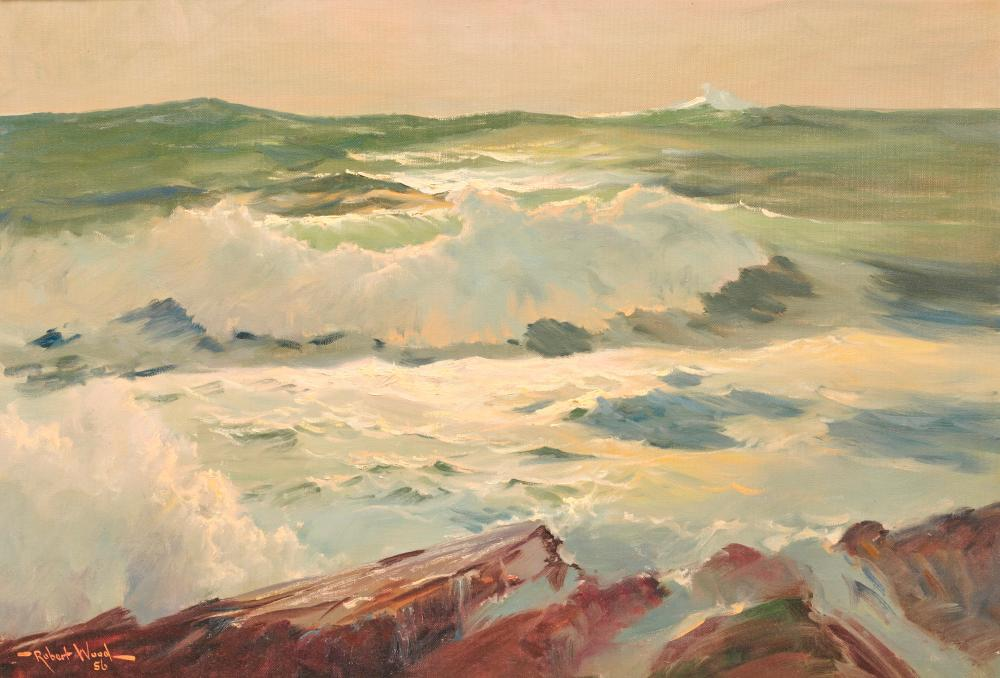 ROBERT WILLIAM WOOD, (American, 1889-1979), Rocks and Surf, 1956, oil on canvas, 22 x 32 in., frame: 31 x 41 in.