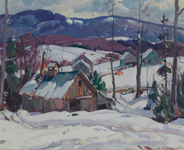 ALDRO THOMPSON HIBBARD, (American, 1886-1972), Sugaring Hut, oil on canvasboard, 18 x 22 in., frame: 24 x 28 in.