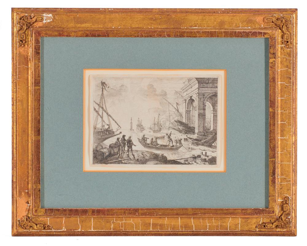 CLAUDE LORRAIN, (French, ca. 1600-1682), Le Port de Mer au fanal (Harbor Scene with Lighthouse), etching, sheet: 5 3/4 x 8 in., frame: 14 1/4 x 17 1/2 in.
