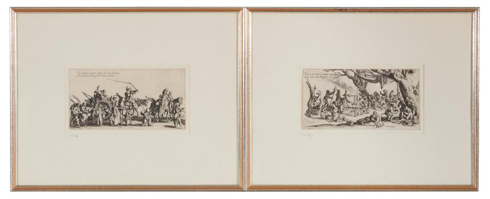 JACQUES CALLOT, (French, 1592-1635), Six Etchings: L''Eventail, Solimano, and four works from Les Bohemiens