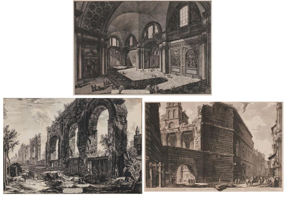 GIOVANNI BATTISTA PIRANESI, (Italian, 1720-1778), From Vedute di Roma: Three Works, etchings