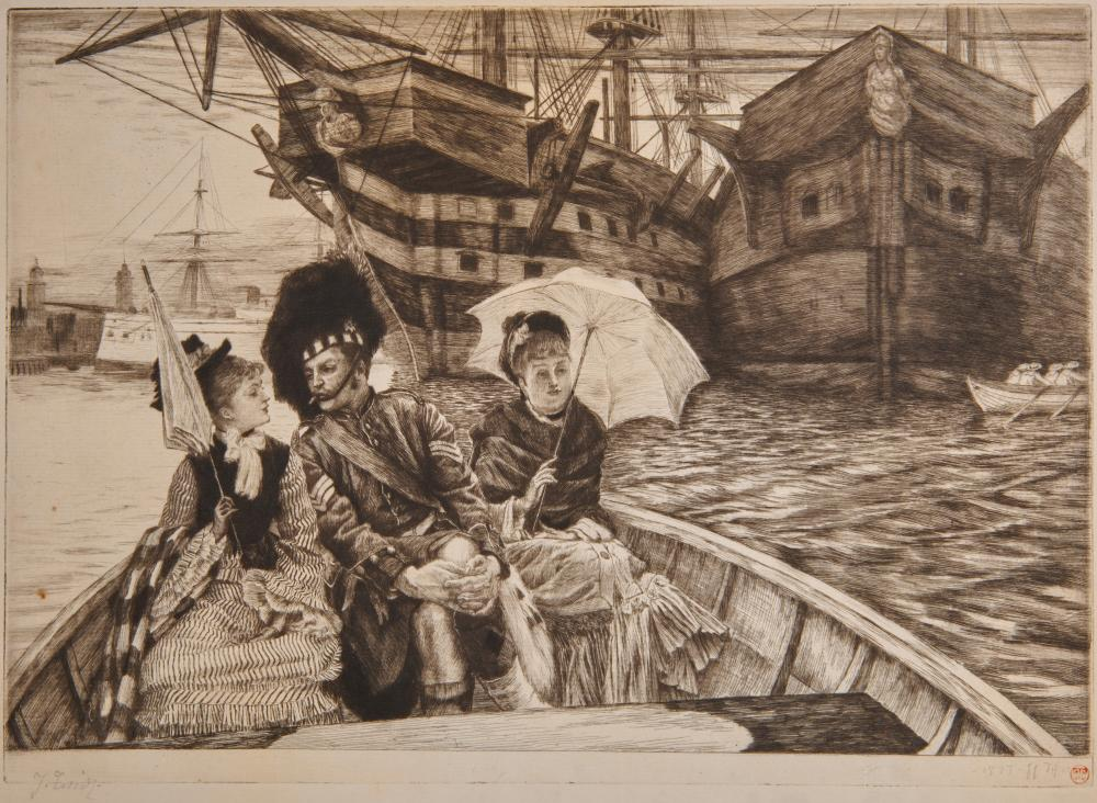 JAMES JACQUES TISSOT, (French, 1836-1902), Entre les deux mon coeur balance, etching and drypoint, image: 9 1/2 x 13 3/4 in.
