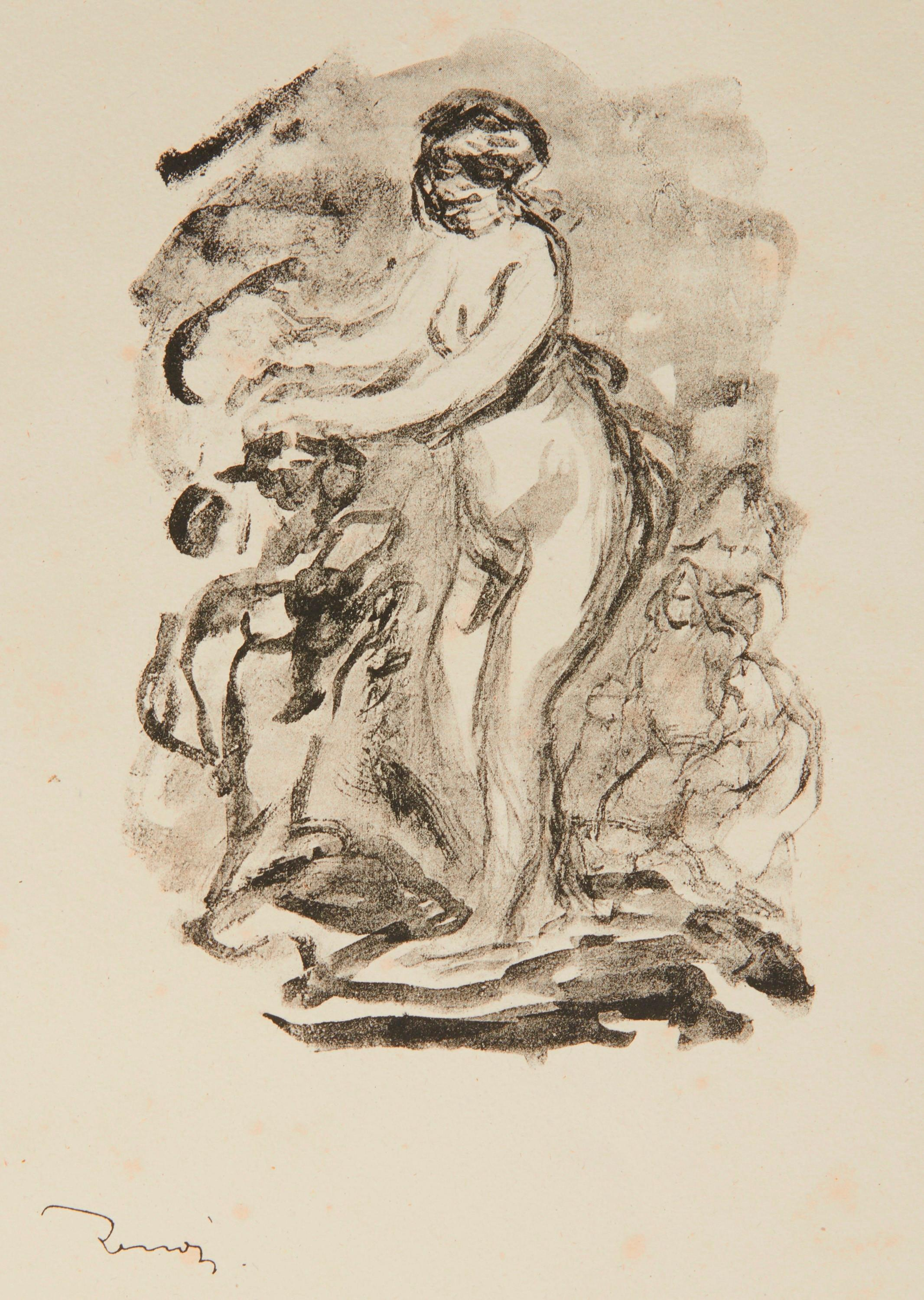 PIERRE AUGUSTE RENOIR, (French, 1841-1919), Femme au cep de vigne (Woman by the Grapevine), lithograph, image: 6 3/4 x 4 3/4 in., sheet: 13 x 10 in.