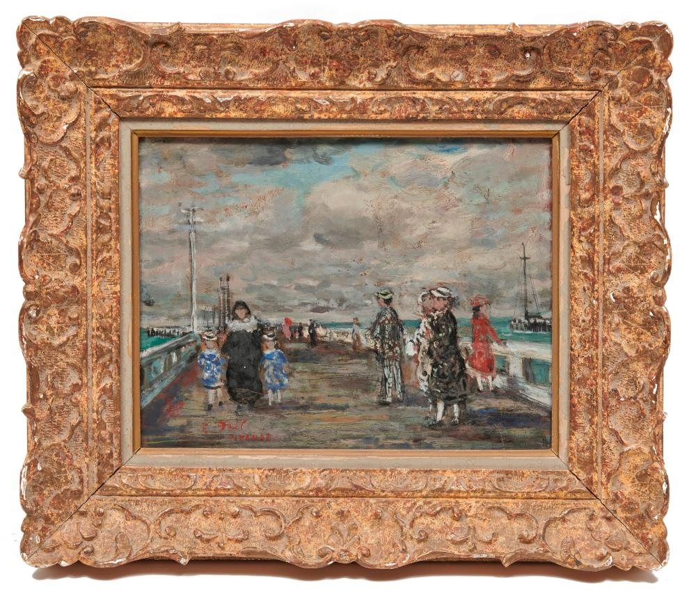 FRANCOIS GALL, (French, 1912-1987), Promenade at Ostend, oil on board, 12 x 15 1/4 in., frame: 17 1/2 x 20 1/4 in.