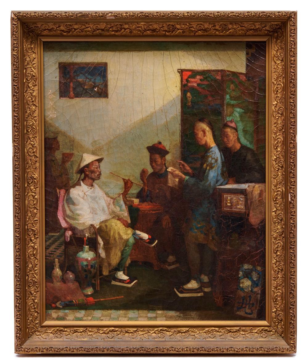THEODORE DELAMARRE, (French, 1824-1883), Interior Scene, 1860, oil on canvas, 20 1/2 x 16 1/2 in., frame: 24 1/2 x 20 in.