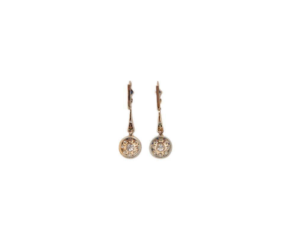 Platinum, 14K Gold, Diamond, and Sapphire Pendant Earrings