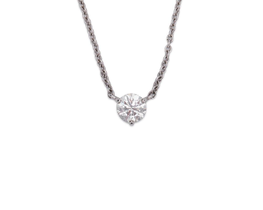 Patinum and Diamond Pendant Necklace