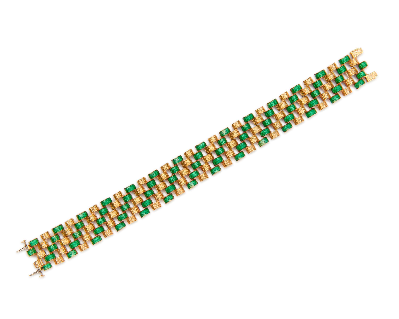 18K Gold and Enamel Reversible Bracelet