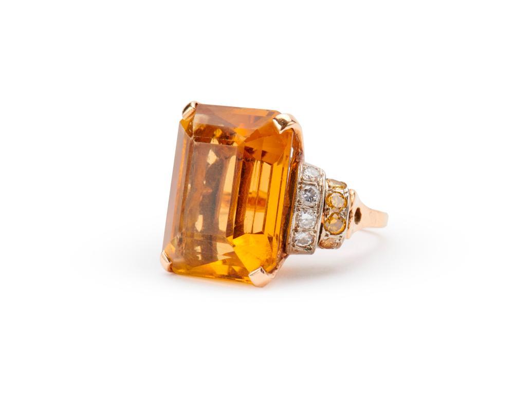 14K Gold, Citrine, Diamond, and Colored Diamond Ring