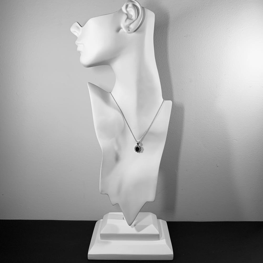 18K Gold, Sapphire, and Diamond Pendant Necklace