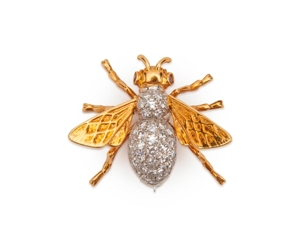 18K Gold, Diamond, and Ruby Bee Brooch