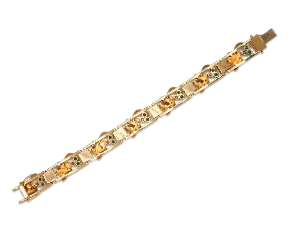 14K Gold, Emerald, and Diamond Bracelet