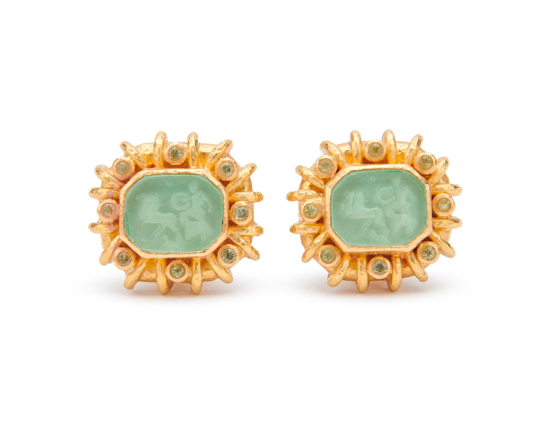 ELIZABETH LOCKE 18K Gold, Glass Intaglio, Mother-of-Pearl, and Peridot Earclips