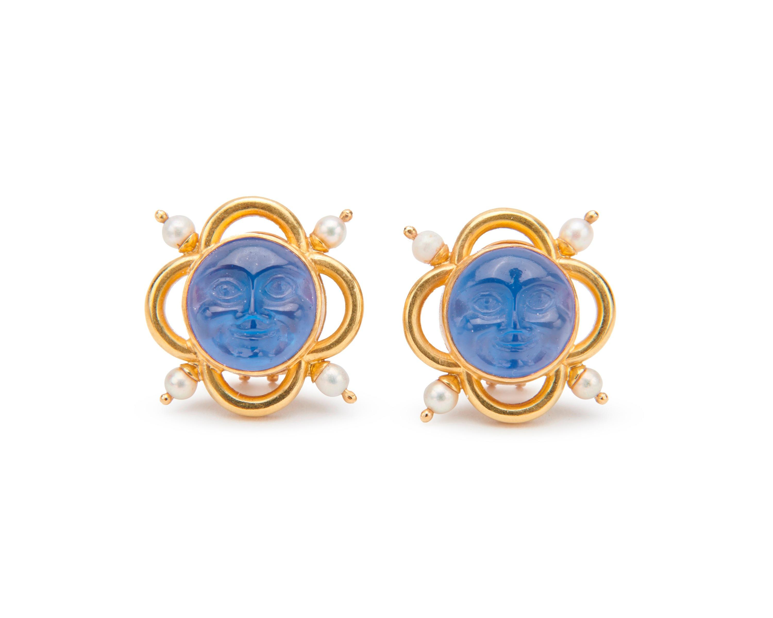 ELIZABETH LOCKE 18K Gold, Glass Intaglio, Mother-of-Pearl, and Pearl Earclips