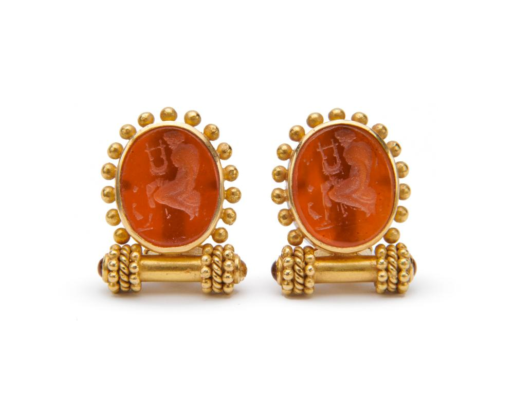 ELIZABETH LOCKE 18K Gold, Glass Intaglio, Mother-of-Pearl, and Citrine Earclips