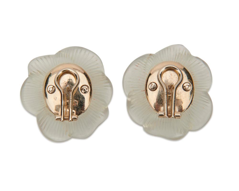 ASPREY Platinum, Carved Rock Crystal, Diamond, and Sapphire Earrings