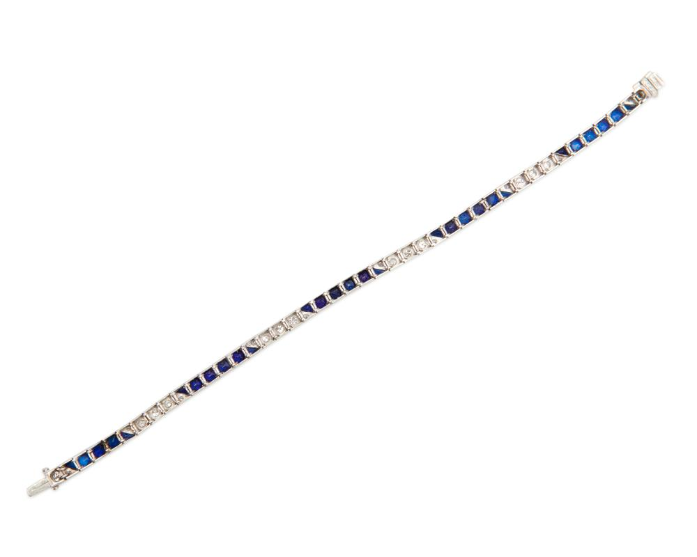 Platinum, Diamond, and Synthetic Sapphire Line Bracelet