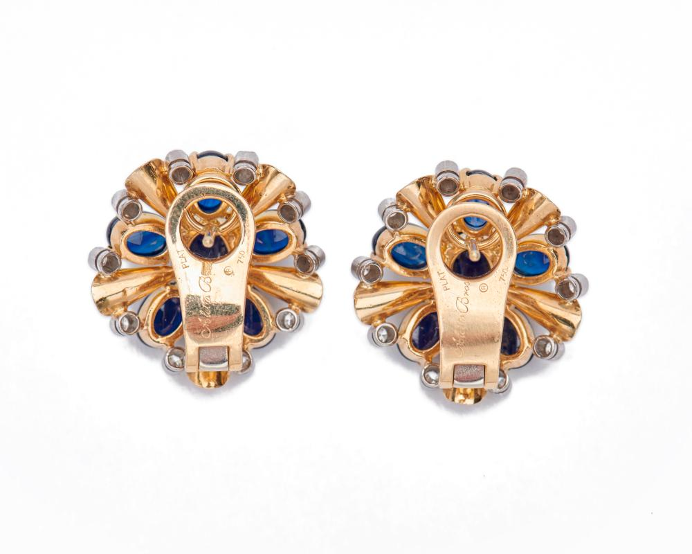 ALETTO BROTHERS 18K Gold, Sapphire, and Diamond Earclips