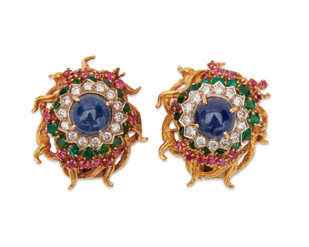 18K Gold, Sapphire, Diamond, Ruby, and Emerald Earclips