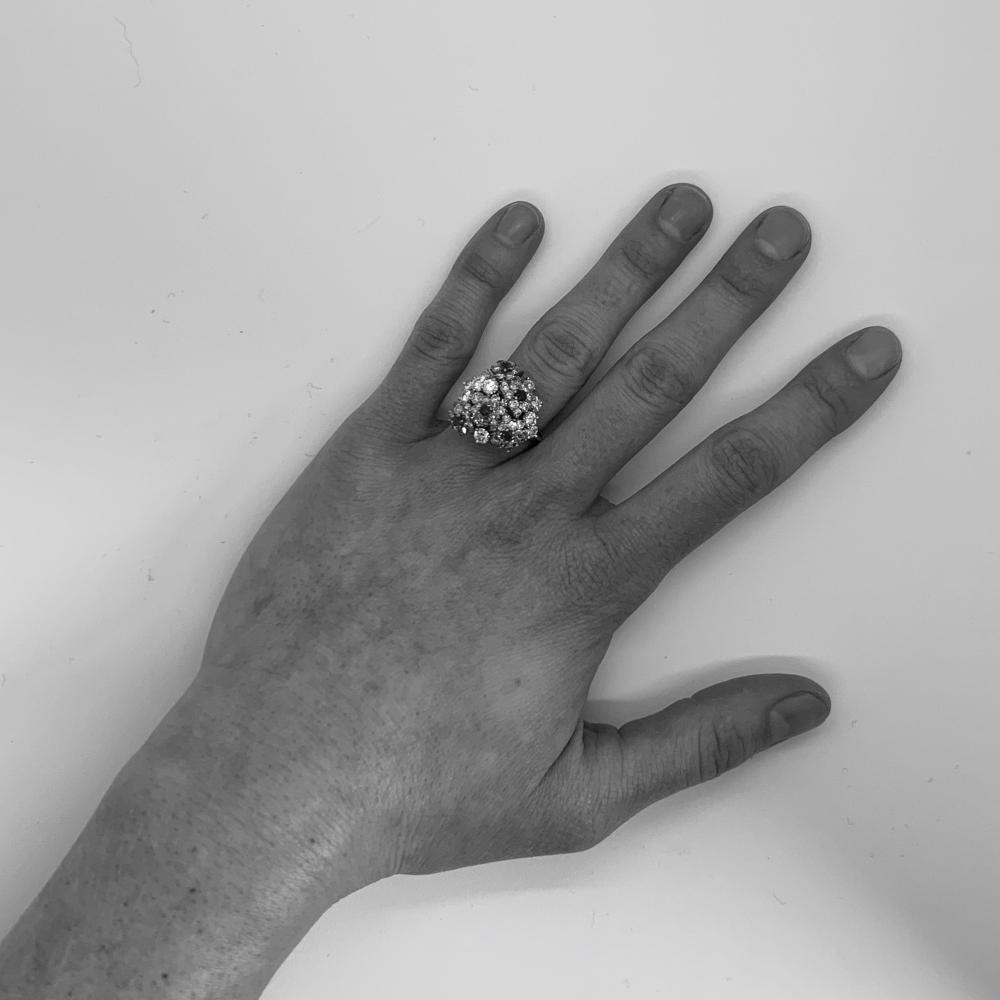 18K Gold, Platinum, Colored Diamond, Diamond, and Emerald Ring