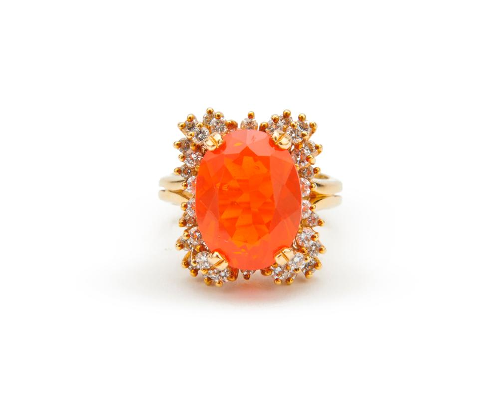 18K Gold, Mexican Fire Opal, and Diamond Ring